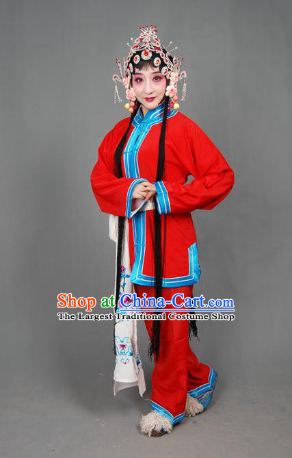 Traditional Chinese Peking Opera Susan Left Hongtong County Young Lady Costumes Apparel Xiaodan Red Garment and Headwear