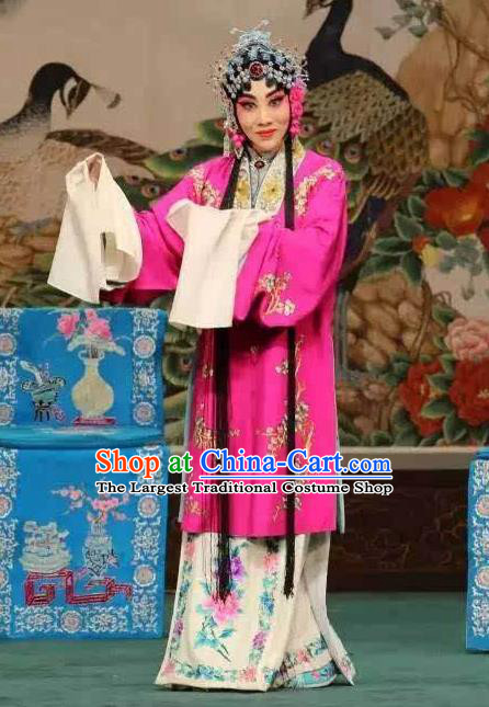 Traditional Chinese Opera Hua Tan the Empty City Stratagem Costumes Peking Opera Apparel Garment Rosy Cape and Headwear