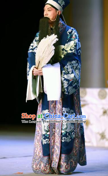 Chinese Beijing Opera Apparels Garment Peking Opera the Empty City Stratagem Elderly Male Zhuge Liang Costumes and Hat
