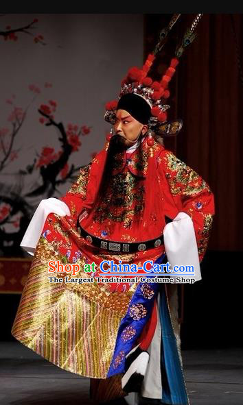 Chinese Beijing Opera Garment Peking Opera Judge Bao and the Qin Xianglian Case Apparels Costumes Embroidered Robe and Hat