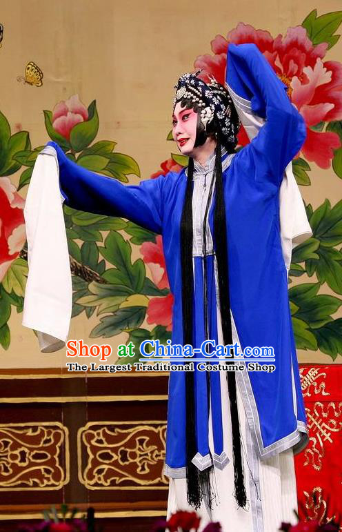 Traditional Chinese Peking Opera Distress Maiden Blue Dress Judge Bao and the Qin Xianglian Case Costumes Tsing Yi Garment and Headwear