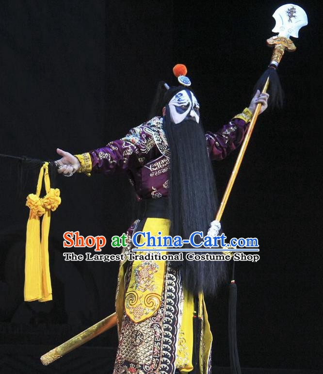 Chinese Beijing Opera Wusheng Costumes Garment Peking Opera Farewell My Concubine Martial Role Chu King Apparels and Headwear