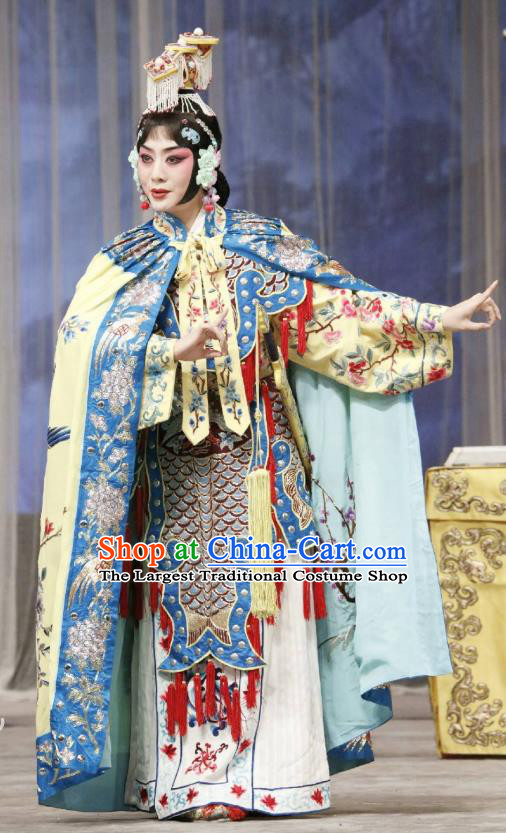 Traditional Chinese Peking Opera Actress Garment Dress Farewell My Concubine Martial Lady Yu Ji Costumes with Cloak and Headdress