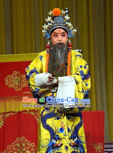 Chinese Peking Opera Old Men Li Yuan Watch Tower Wang Er Lou Apparels Costumes Garment Emperor Ceremonial Robe and Headwear