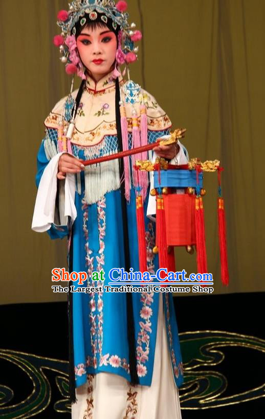 Chinese Traditional Peking Opera Court Maid Garment Costumes Watch Tower Wang Er Lou Apparels Hua Tan Blue Dress and Headpieces