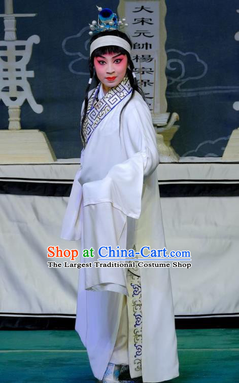 Chinese Peking Opera Niche Ceremonial Robe Apparels Yangmen Female General Costumes Xiaosheng Yang Wenguang Garment and Headpiece