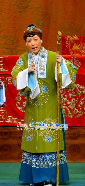 Chinese Traditional Peking Opera Elderly Women Garment Costumes Yangmen Female General Countess She Saihua Apparels and Headpieces