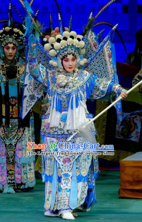 Chinese Traditional Peking Opera Garment Costumes Yangmen Female General General Kao Armor Suit with Flags Apparels and Headwear