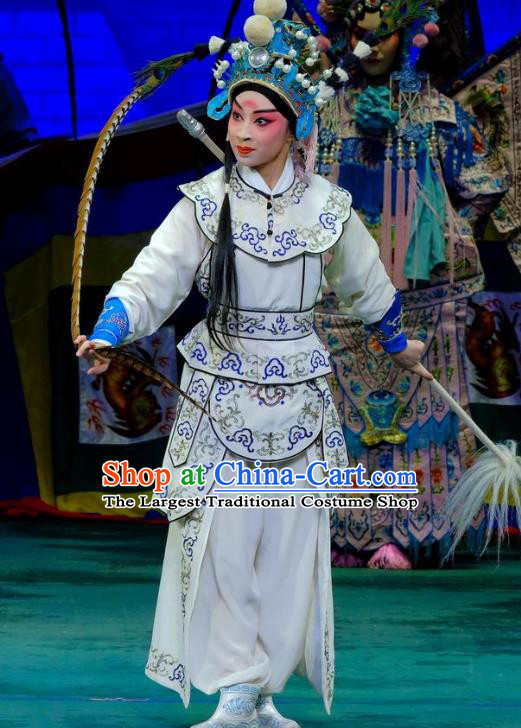 Chinese Peking Opera Martial Young Men Apparels Yangmen Female General Costumes Wusheng Takefu Yang Wenguang Garment and Headwear
