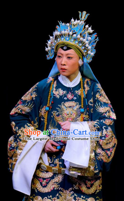Chinese Traditional Yangmen Female General Peking Opera Elderly Women Garment Costumes She Saihua Embroidered Robe Apparels and Headwear