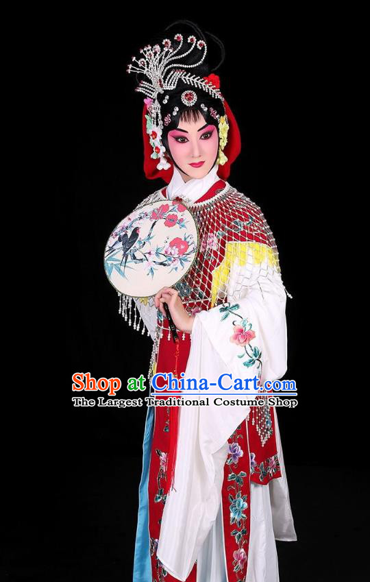 Chinese Traditional Peking Opera Rich Lady Costumes Matchmaker Apparels Garment Hua Tan Cui Yingying Red Dress and Headpieces