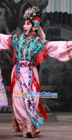 Chinese Traditional Peking Opera Servant Girl Costumes Matchmaker Garment Young Lady Pink Dress Apparels and Headdress