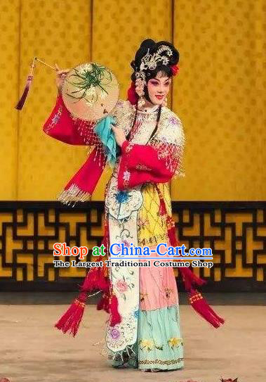 Chinese Traditional Peking Opera Xiaodan Apparels Costumes Matchmaker Garment Servant Girl Dress and Headdress
