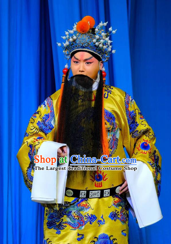 Chinese Peking Opera Elderly Men Ceremonial Robe Apparels Yangmen Female General Costumes Emperor Renzong Garment and Headwear