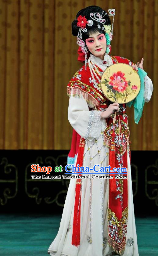 Chinese Traditional Peking Opera Hua Tan Diva Apparels Costumes Matchmaker Rich Lady Red Dress Garment and Headpieces