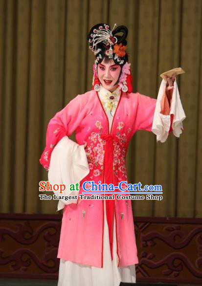 Traditional Chinese Peking Opera Hua Tan Apparels Garment Matchmaker Actress Cui Yingying Pink Dress Costumes and Headwear