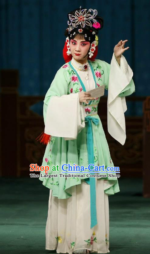 Chinese Traditional Peking Opera Apparels Costumes Matchmaker Garment Young Actress Hong Niang Green Dress and Headwear