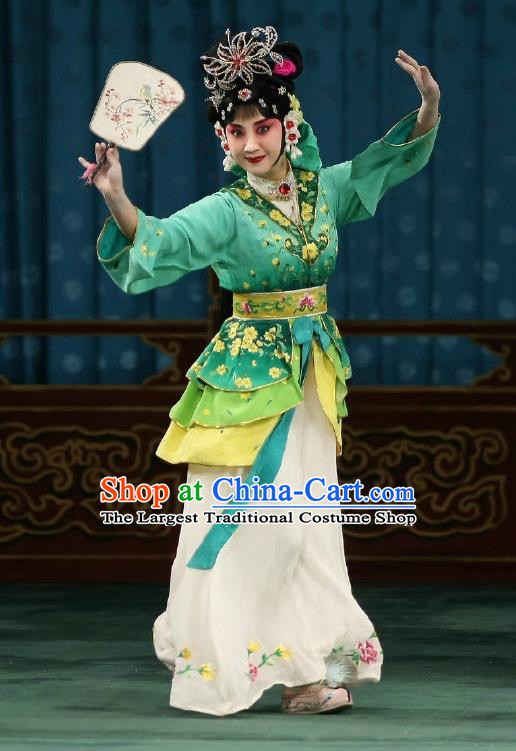 Traditional Chinese Peking Opera Matchmaker Apparels Costumes Garment Young Actress Hong Niang Green Dress and Headwear