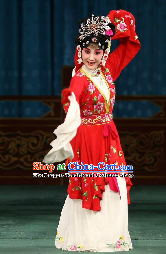 Traditional Chinese Peking Opera Matchmaker Apparels Hong Niang Costumes Young Actress Red Dress Garment and Headpieces