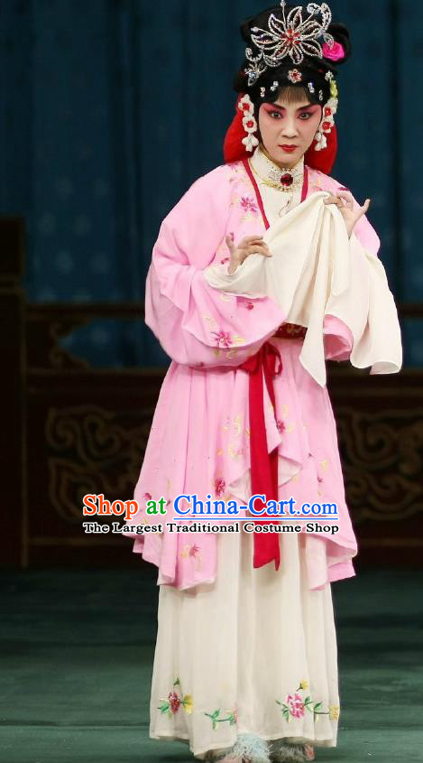 Traditional Chinese Peking Opera Young Actress Matchmaker Apparels Hong Niang Garment Pink Dress Costumes and Headpieces