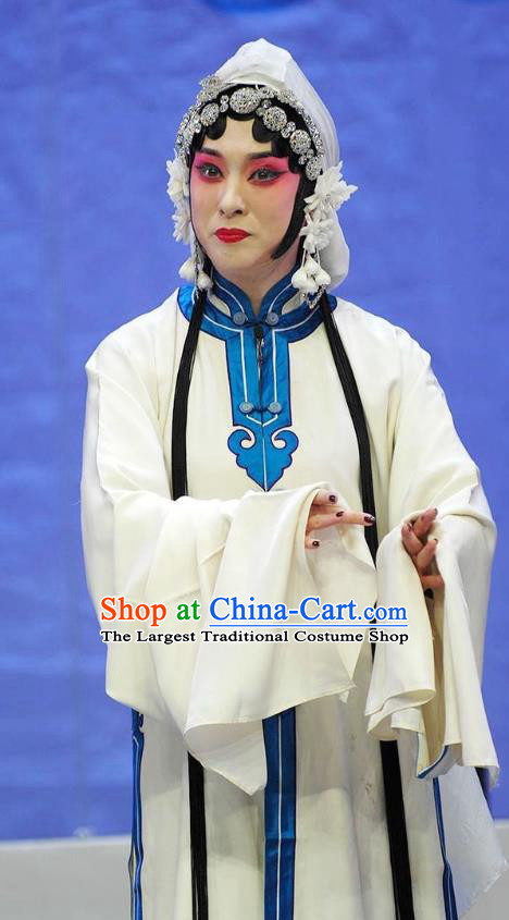 Traditional Chinese Peking Opera Dan Apparels Garment Wolong Tribute Actress Tsing Yi Distress Maiden Xiao Qiao White Dress Costumes and Headdress