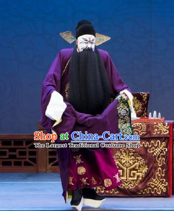 Chinese Peking Opera Official Yan Song Apparels Costumes Four Scholars Lao Sheng Elderly Men Garment Purple Robe and Hat Complete Set