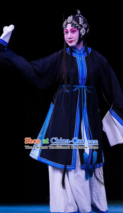 Traditional Chinese Peking Opera Distress Maiden Apparels Garment Four Scholars Actress Tsing Yi Navy Dress Costumes and Headwear