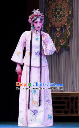 Traditional Chinese Peking Opera Xiao Dan Apparels Garment Four Scholars Actress Young Lady Pink Dress Costumes and Headwear
