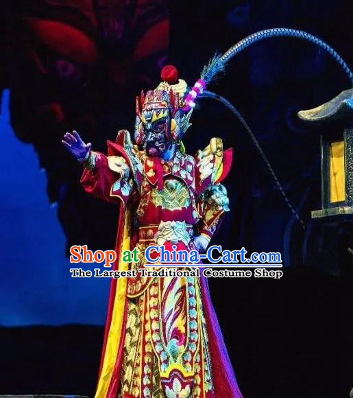 Chinese Peking Opera General Armor Costumes The Revenge of Prince Zi Dan Martial Male Apparels Garment and Headwear