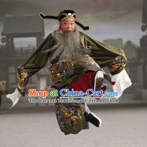 Chinese Peking Opera Elderly Male Costumes In Pursuit of The General Apparels Lao Sheng Chancellor Han Xin Garment and Hat