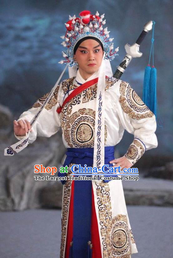 Chinese Peking Opera Martial Male Costumes In Pursuit of The General Apparels Wu Sheng Takefu Han Xin Garment and Headwear