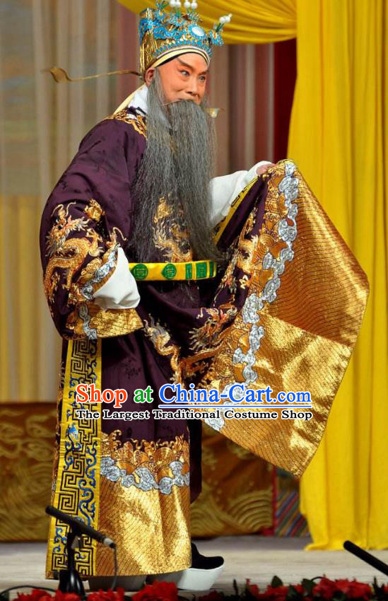 Chinese Peking Opera Chancellor Xiao He Costumes In Pursuit of The General Apparels Lao Sheng Elderly Male Garment Embroidered Robe and Headwear