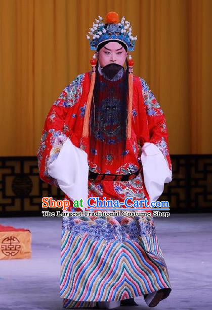 Chinese Peking Opera Emperor Costumes In Pursuit of The General Apparels Elderly Male Garment Liu Bang Ceremonial Robe and Headwear