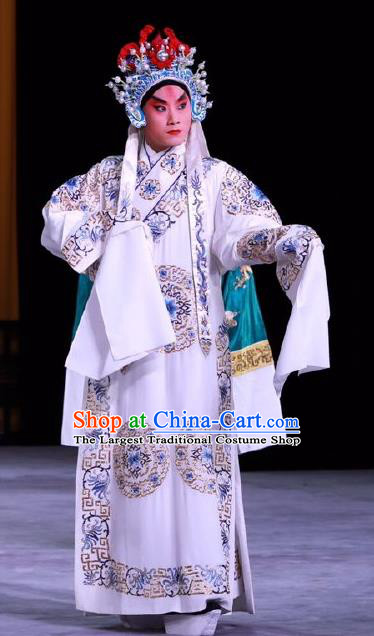 Chinese Peking Opera Young Male Costumes In Pursuit of The General Apparels Garment Xiao Sheng Han Xin Robe and Headwear