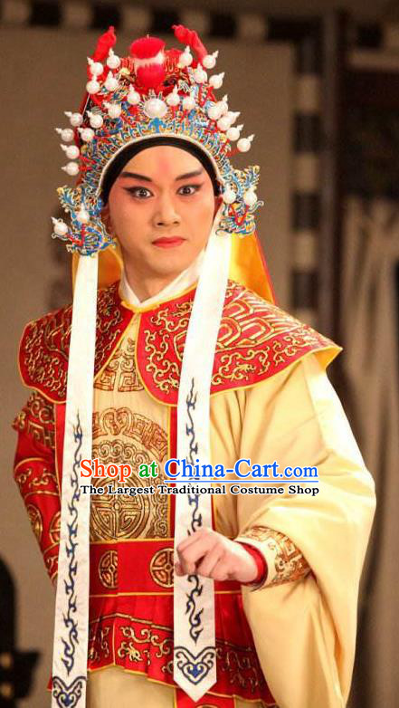 Chinese Peking Opera Wu Sheng Costumes In Pursuit of The General Apparels Young Male Role Garment and Helmet