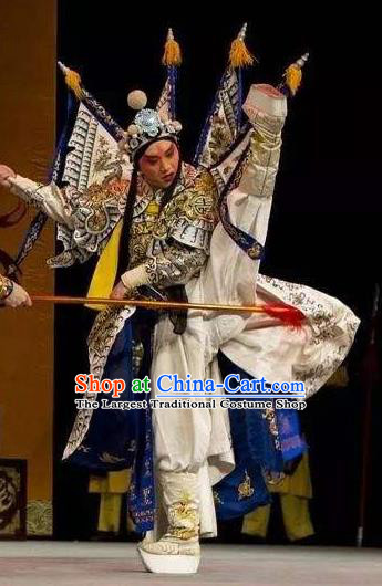 Chinese Peking Opera Wu Sheng Apparels Costumes The Revenge of Prince Zi Dan Takefu Garment General Kao Armor Suit with Flags and Headwear