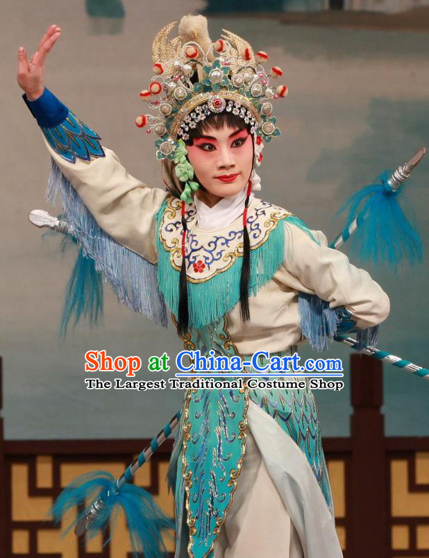 Traditional Chinese Peking Opera Wudan Apparels Garment The Fire Fenix Martial Female Green Dress Costumes and Headdress
