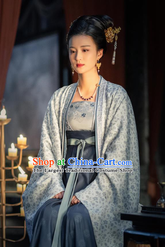 Ancient Chinese Imperial Consort Zhang Historical Garment Song Dynasty Drama Serenade of Peaceful Joy Palace Lady Costumes and Headpiece Complete Set