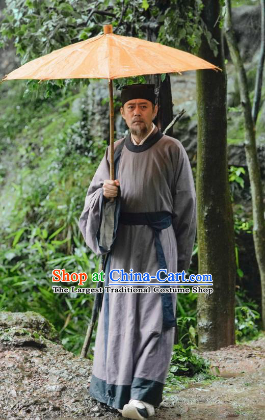 Ancient Chinese Song Dynasty Official Fan Zhongyan Costumes Historical Drama Serenade of Peaceful Joy Politician Hanfu Garment and Headwear