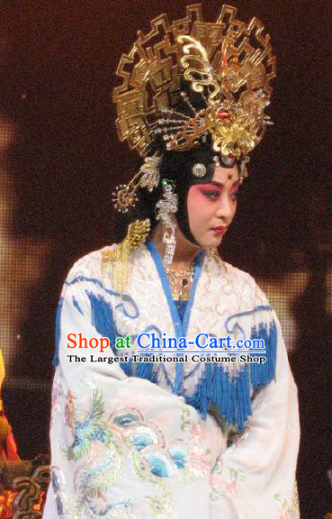 Chinese Beijing Opera Diva Su Daji Costumes Apparels Garment The Legend and Hero Peking Opera Hua Tan Imperial Consort Dress and Headdress