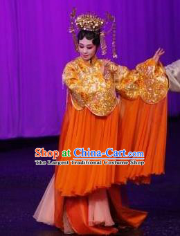 Chinese Kun Opera Young Female Apparels Costumes The Fragrant Companion Peking Opera Hua Tan Garment Golden Dress and Headdress