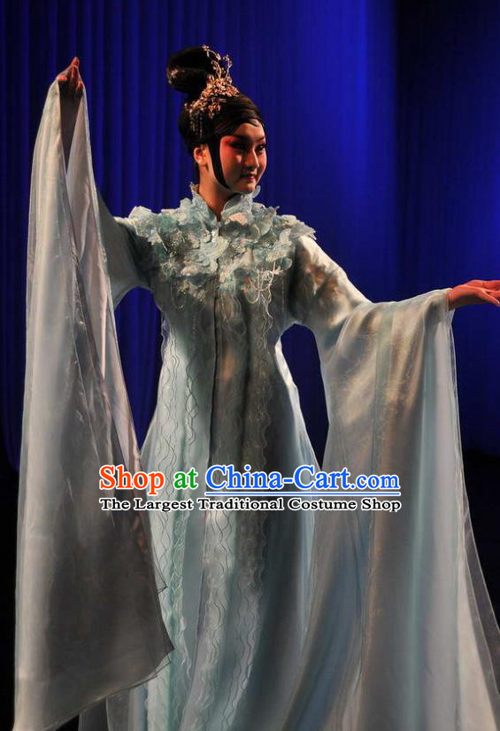 Chinese Kun Opera Young Lady Apparels Costumes The Fragrant Companion Peking Opera Hua Tan Garment Blue Dress and Hair Accessories