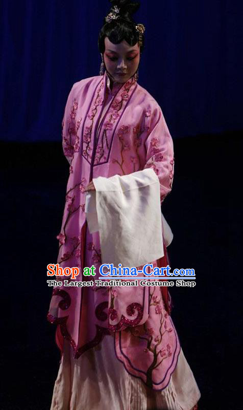 Chinese Kun Opera Diva Hua Tan Apparels Costumes The Fragrant Companion Peking Opera Young Lady Garment Pink Cape and Hair Ornaments