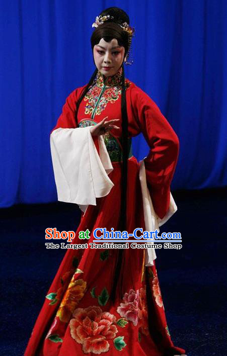 Chinese Kun Opera Hua Tan Apparels Costumes The Fragrant Companion Peking Opera Diva Young Lady Red Dress Garment and Hair Accessories