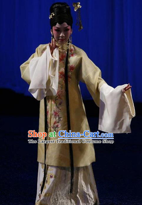 Chinese Kun Opera Hua Tan The Fragrant Companion Apparels Costumes Peking Opera Diva Young Female Yellow Dress Garment and Headwear