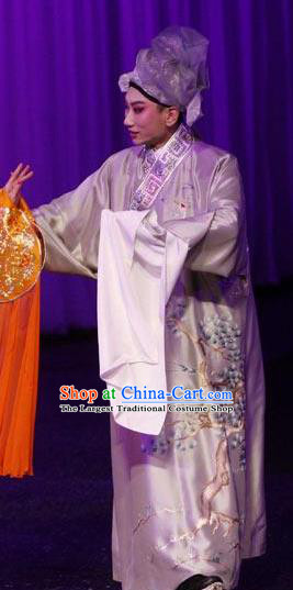 Chinese Peking Opera Young Men Costumes Kun Opera The Fragrant Companion Niche Apparels Garment Scholar Embroidered Robe and Hat