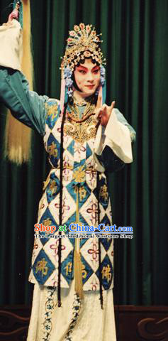 Chinese Kun Opera Taoist Nun Dress Costumes Si Fan Peking Opera Hua Tan Female Garment and Headdress