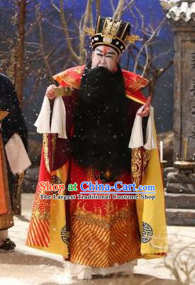Chinese Historical Beijing Opera Old Men Costumes Cao Cao And Yang Xiu Apparels Elderly Male Garment and Hat