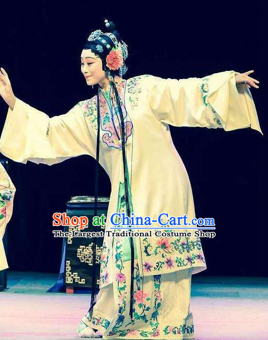 Chinese Kun Opera Rich Lady Costumes Garment The Fragrant Companion Peking Opera Hua Tan Dress Apparels and Hair Accessories