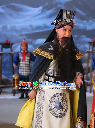 Chinese Historical Beijing Opera Old Scholar Costumes Cao Cao And Yang Xiu Apparels Elderly Male Garment and Hat